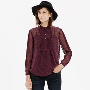 Madewell pintuck clipdot blouse